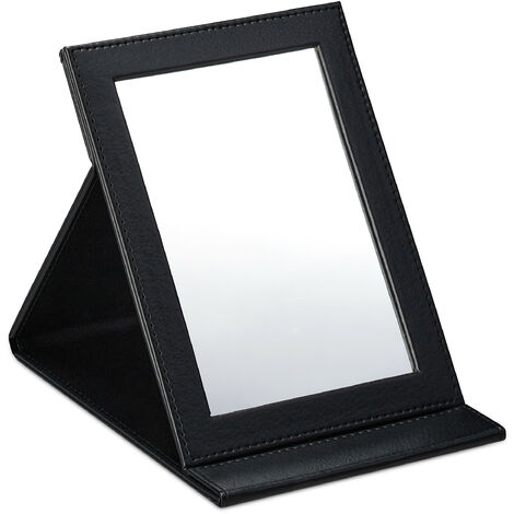 Relaxdays folding mirror, for makeup, shaving, camping, travelling, slim, tilts, 11 x 16 cm (LxW), in black