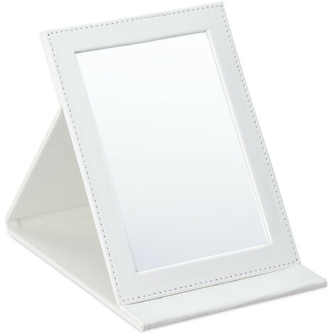 Relaxdays folding mirror, for makeup, shaving, camping, travelling, slim, tilts, 11 x 16 cm (LxW), in white