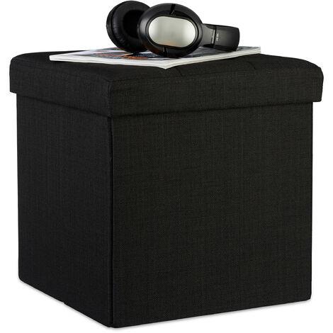 Relaxdays Folding Ottoman 38 x 38 x 38 cm Storage Chair, Footstool Pouf Box Cube, Removable Lid, Black