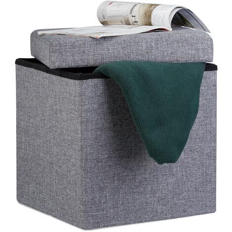 Relaxdays Folding Ottoman 38 x 38 x 38 cm Storage Chair, Footstool Pouf Box Cube, Removable Lid, Dark Grey