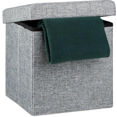 Relaxdays Folding Ottoman 38 x 38 x 38 cm Storage Chair, Footstool Pouf Box Cube, Removable Lid, Grey