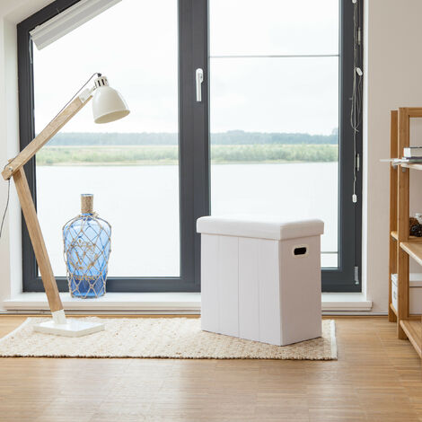 Relaxdays Folding Ottoman, HxWxD: 49.5 x 46 x 25.5 cm, with Storage, Foldable Footstool, Linen, Polyester, MDF, Brown