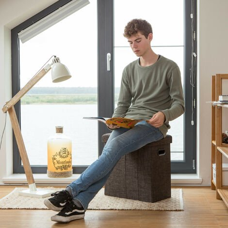 Relaxdays Folding Ottoman, HxWxD: 49.5 x 46 x 25.5 cm, with Storage, Foldable Footstool, Linen, Polyester, MDF, White