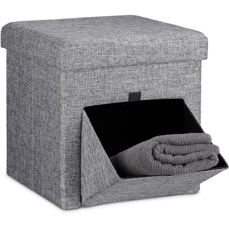 Relaxdays Folding Ottoman Size: 38 x 38 x 38 cm Sturdy Seat and Practical Footstool, Fabric, Removable Lid, Grey