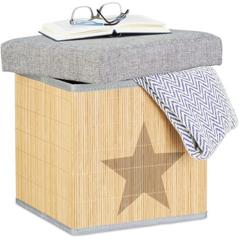 Relaxdays Folding Ottoman, Star Print, Square 36 cm, Bamboo Storage Footstool with Lid, Storage Cube, Grey/Natural
