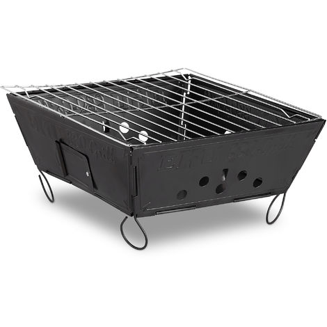 Relaxdays Folding Outdoor Camping Grill, Steel Tabletop Barbecue HWD: 12 x 25 x 25 cm, Black