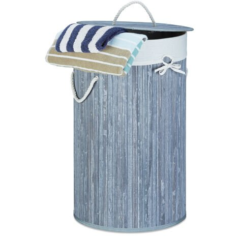 Relaxdays Folding Round Laundry Basket, 41 cm Diameter, 65 cm Tall, Foldable, Volume of 80 L, with Cotton Laundry Sack, Grey