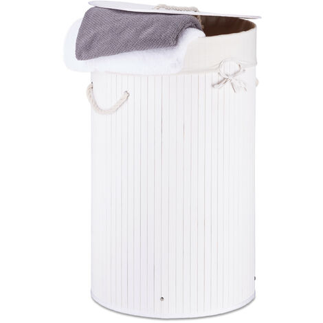Relaxdays Folding Round Laundry Basket, 41 cm Diameter, 65 cm Tall, Foldable, Volume of 80 L, with Cotton Laundry Sack, White