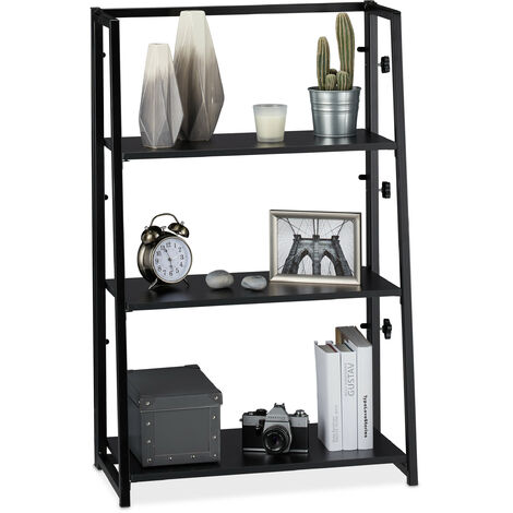 Relaxdays Folding Shelf Unit, Foldable Standing Shelving With 3 Tiers, Compact, Iron & Wood, 101x64x34 cm, Black