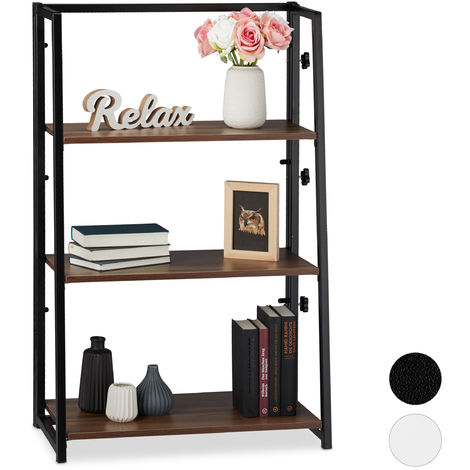Relaxdays Folding Shelf Unit, Foldable Standing Shelving With 3 Tiers, Compact, Iron & Wood, 101x64x34 cm, Wood/Black