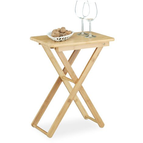 Relaxdays Folding Side Table, Bamboo Wood, Small Foldable TV Table, Rectangular, HxWxD: ca 52 x 40 x 31 cm, Natural Brown