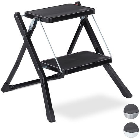 Relaxdays Folding Step Ladder, 2 Rungs, Compact Stand, Non-Slip, Iron, HWD 45 x 50 x 50 cm, Black