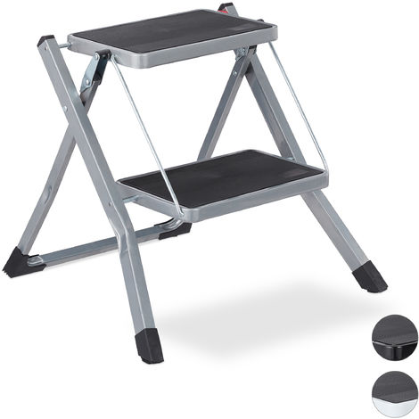 Relaxdays Folding Step Ladder, 2 Rungs, Compact Stand, Non-Slip, Iron, HWD 45 x 50 x 50 cm, Grey
