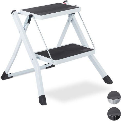 Relaxdays Folding Step Ladder, 2 Rungs, Compact Stand, Non-Slip, Iron, HWD 45 x 50 x 50 cm, White