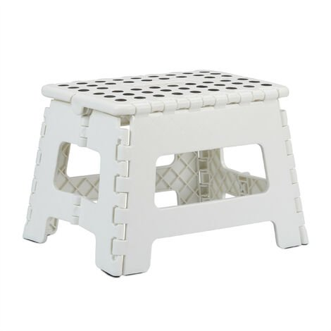 """main image of """"Relaxdays Folding Stool M, Portable, Step Stool, Kids' Bathroom Stool for up to 120 kg, Plastic, 22 cm Tall"""""""