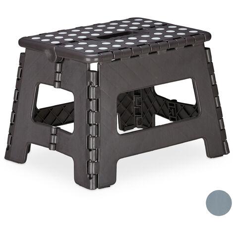 Relaxdays Folding Stool M, Portable, Step Stool, Kids' Bathroom Stool for up to 120 kg, Plastic, 22 cm Tall, Dark Grey
