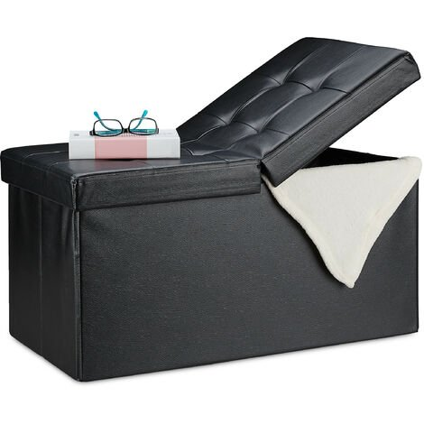 Relaxdays Folding Storage Bench, Faux Leather, Hinged Lid, Hallway Chest, Bedroom Stand, Black