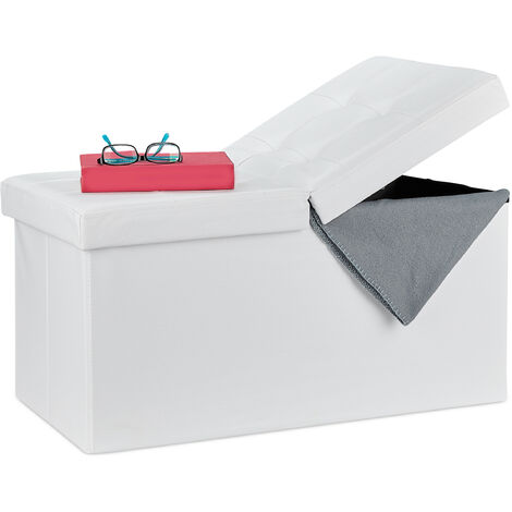 Relaxdays Folding Storage Bench, Faux Leather, Hinged Lid, Hallway Chest, Bedroom Stand, White