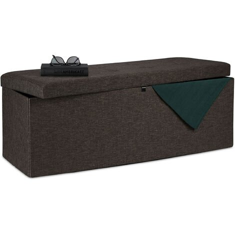 Relaxdays Folding Storage Bench, Padded, Hinged Lid, Hallway Chest, Divider, 120 L, Bedroom Stand, Brown