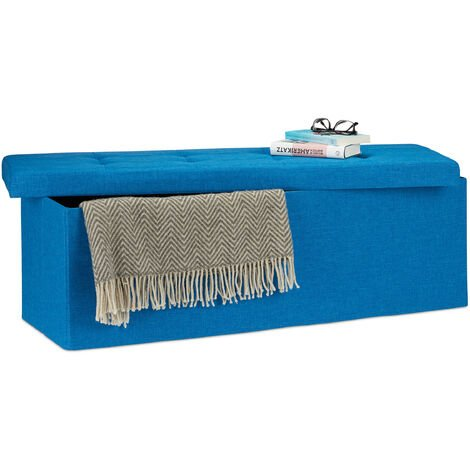 Relaxdays Folding Storage Bench XL, 38 x 114 x 38 cm, Foldable Ottoman Footstool, with Lid, Fabric, Blue
