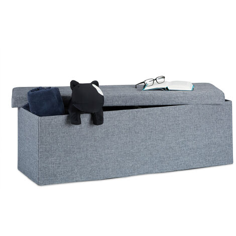 Relaxdays Folding Storage Bench XL, 38 x 114 x 38 cm, Foldable Ottoman Footstool, with Lid, Fabric, Dark Grey