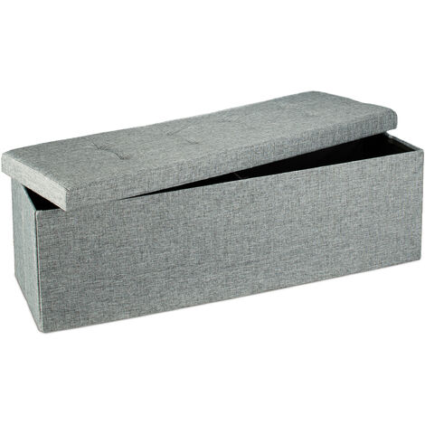 Relaxdays Folding Storage Bench XL, 38 x 114 x 38 cm, Foldable Ottoman Footstool, with Lid, Fabric, Grey