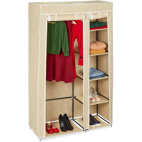 Relaxdays Folding Wardrobe VALENTIN XL Sturdy Fabric Closet, Fleece, 174 x 107 x 42.5 cm With 5 Shelves & Zipper, Beige
