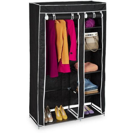 Relaxdays Folding Wardrobe VALENTIN XL Sturdy Fabric Closet, Fleece, 174 x 107 x 42.5 cm With 5 Shelves & Zipper, Black