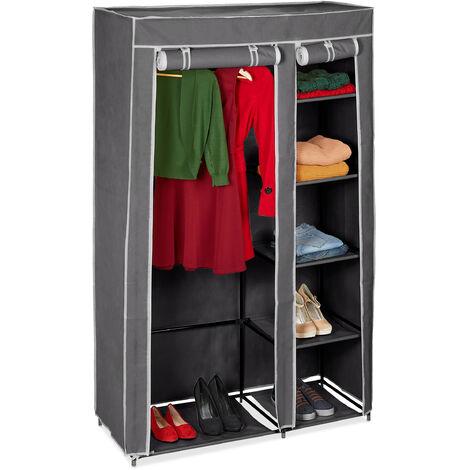 Relaxdays Folding Wardrobe VALENTIN XL Sturdy Fabric Closet, Fleece, 174 x 107 x 42.5 cm With 5 Shelves & Zipper, Grey