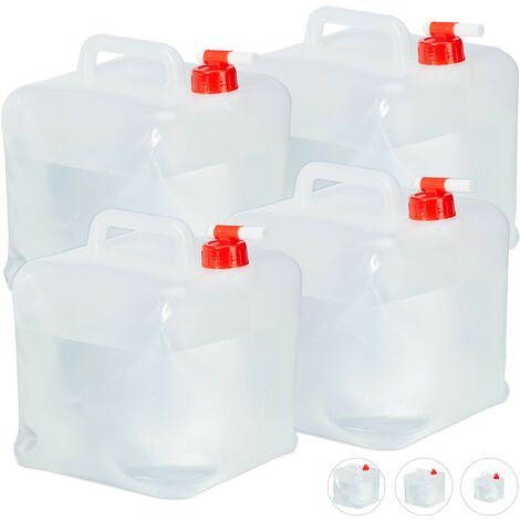 Relaxdays Folding Water Canister Set of 4, Faucet, Screw Cap, Handle, Camping Container, BPA-Free, 10L, Clear/Red