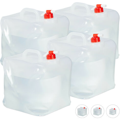 Relaxdays Folding Water Canister Set of 4, Faucet, Screw Cap, Handle, Camping Container, BPA-Free, 20L, Clear/Red