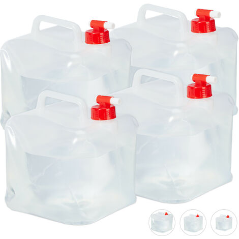 Relaxdays Folding Water Canister Set of 4, Faucet, Screw Cap, Handle, Camping Container, BPA-Free, 5L, Clear/Red