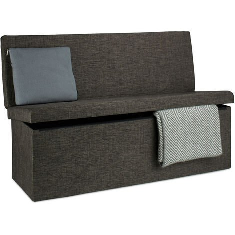 Relaxdays Folding XL Storage Ottoman with Seat Back, 73 x 114 x 38 cm Sturdy Footstool Bench Linen with Removable Lid, Brown