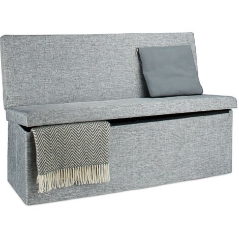 Relaxdays Folding XL Storage Ottoman with Seat Back, 73 x 114 x 38 cm Sturdy Footstool Bench Linen with Removable Lid, Grey