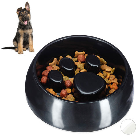 Relaxdays Foraging Feeding Bowl for Slow Eating, Cats & Dogs, Bloat Stop Dish, Dishwasher-Safe, Black