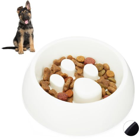 Relaxdays Foraging Feeding Bowl for Slow Eating, Cats & Dogs, Bloat Stop Dish, Dishwasher-Safe, White