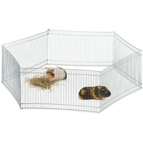 Relaxdays Free Range Pen, 6 Panels, Close-Meshed, Enclosure for Guinea Pigs and More, 27 cm Tall, Silver