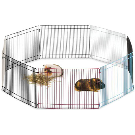 Relaxdays Free Range Pen, 8 Panels, Close-Meshed, Enclosure for Guinea Pigs and More, 24 cm Tall, Multicolour
