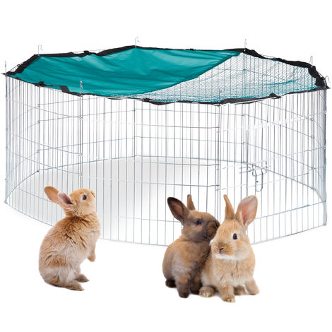 Relaxdays Free Range Pen with Netting, Outdoor Enclosure for Rodents, Sun Protection, Ø 145 cm, Galvanized