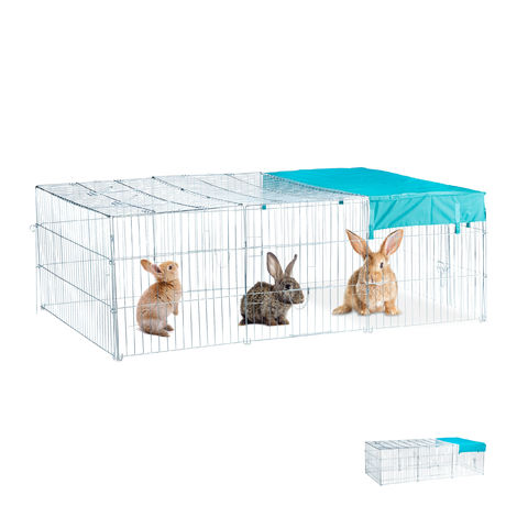 Relaxdays Free Range Rabbit Cage with Cover, Shade Sail, Large Outdoor Enclosure, HWD 60 x 116 x 175 cm, Galvanized