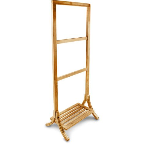 Relaxdays Free-Standing Bamboo Towel Holder, 40 x 105 x 27 cm, 3 Rails and 1 Shelf, Clothes Stand, Natural Brown