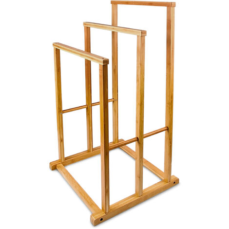 Relaxdays Free-Standing Bamboo Towel Holder, With 3 Rails, 82.5 x 42 x 42.5 cm, Natural Brown