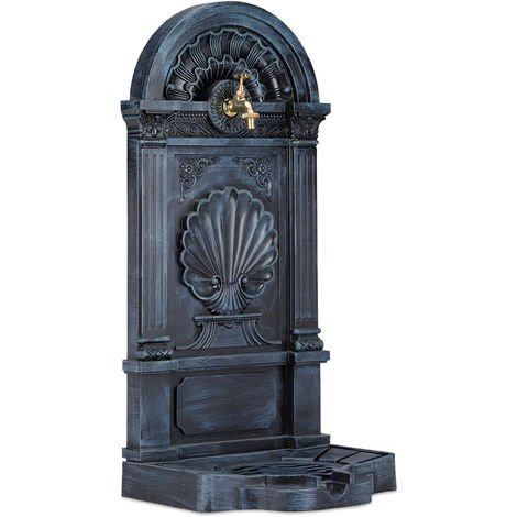Relaxdays Free Standing Water Fountain, Antique-Style, Nostalgia, Garden, Patio, Faucet, Basin, HxWxD: 83 x 39 x 33 cm, Grey