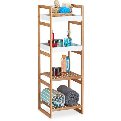 Relaxdays Freestanding Bath Rack with 4 Shelves, Open Bamboo Kitchen Shelf; Bathroom Storage Unit HWD: 110 x 36 x 33 cm, Wood Look, White