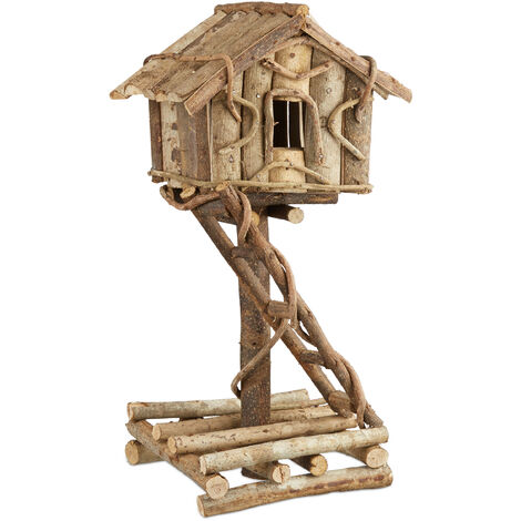 Relaxdays Freestanding Bird House, Untreated Decorative Bird Hotel on Stand, Handmade Nesting Box with Ladder, Natural