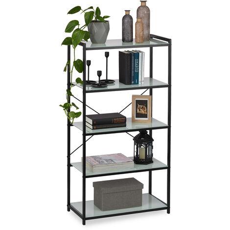 Relaxdays Freestanding Glass Shelving Unit, Modern Metal Frame With 5 Glass Shelves, Kitchen, Bath, Black