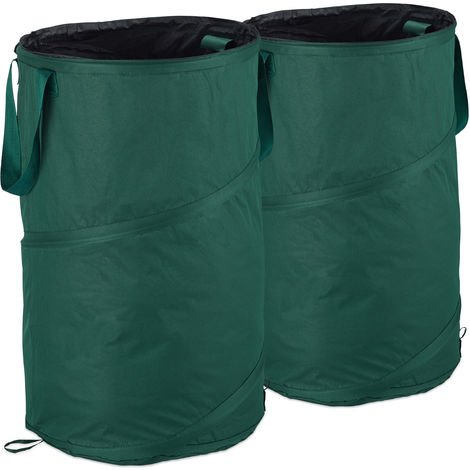 Relaxdays Freestanding Leaf Sack, Set Of 2, Garden Waste Sack, Pop-up, 120 L, Garden Container, ∅: 44 cm, Green