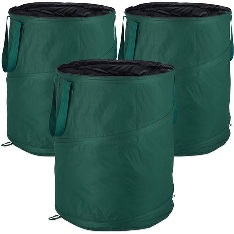 Relaxdays Freestanding Leaf Sack, Set Of 3, Garden Waste Sack, Pop-up, 160 L, Garden Container, ∅: 55 cm, Green