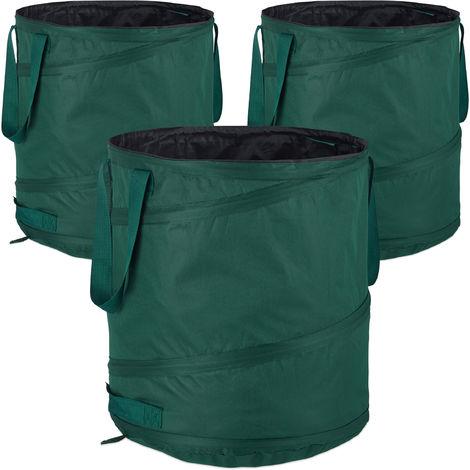 Relaxdays Freestanding Leaf Sack, Set Of 3, Garden Waste Sack, Pop-up, 85 L, Garden Container, ∅: 46 cm, Green