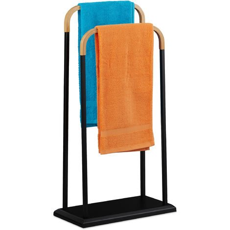 Relaxdays Freestanding Metal Towel Rack, 2 Bamboo Rails, Bathroom, Hand & Bath Towels, H x W x D 85 x 45 x 22 cm, Black